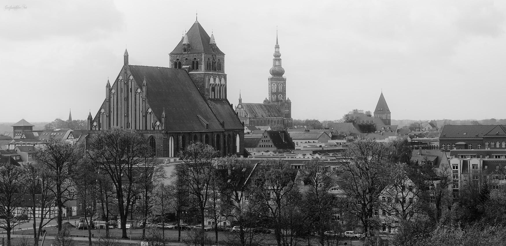 Marienkirche, Dom St. Nikolai und St. Jakobikirche in Greifswald