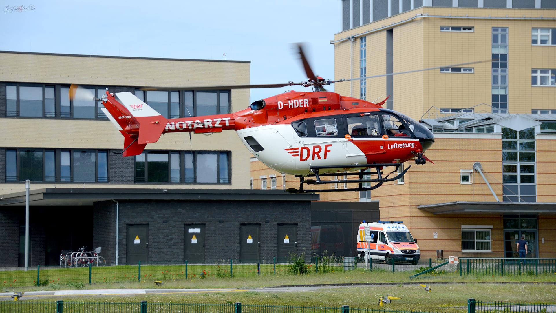 Start Rettungshubschrauber Christoph 47 am Klinikum Greifswald