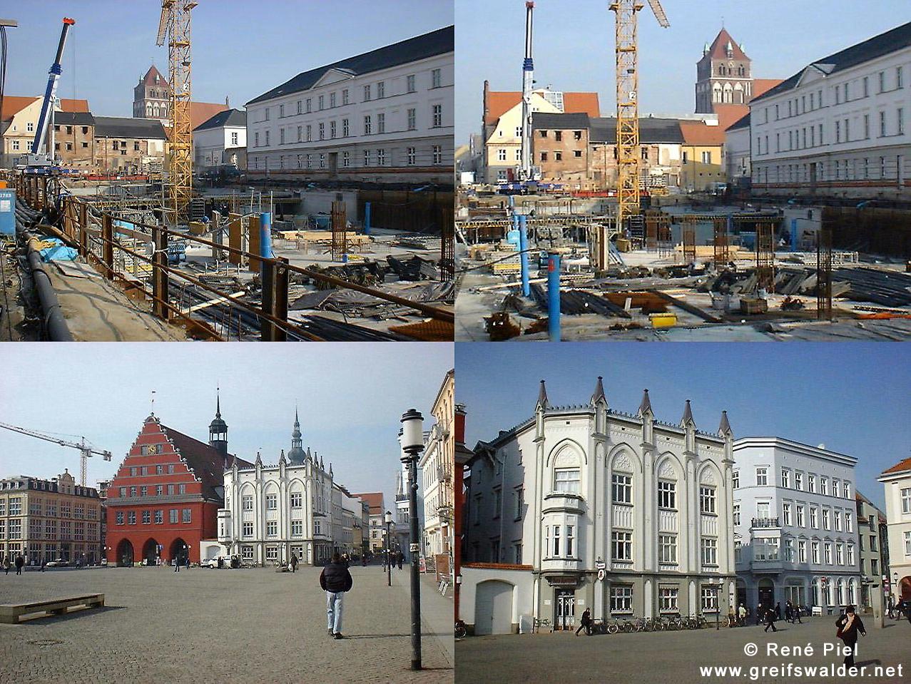 Baustelle Tiefgarage und Marktplatz in Greifswald