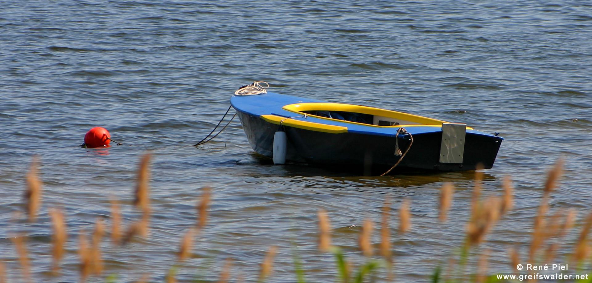 Boot auf der Dänischen Wiek in Greifswald-Wieck