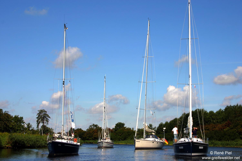 Segelboote auf dem Ryck in Greifswald