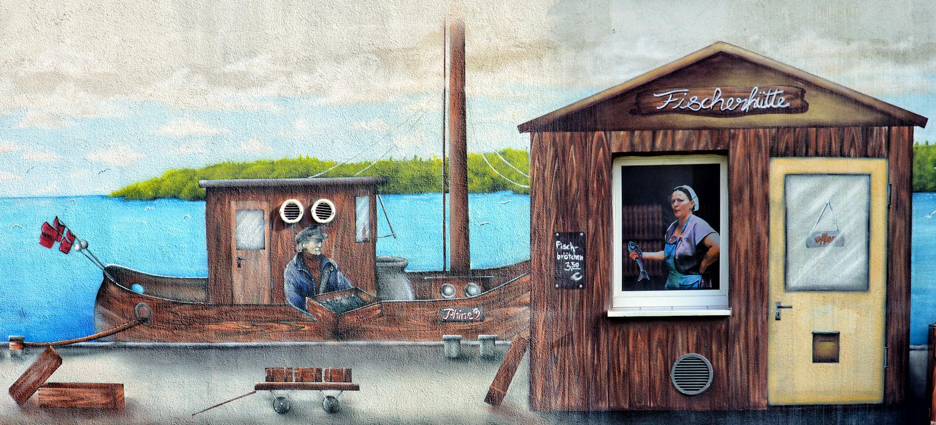 Fischerhütte, Fischbrötchen - Graffiti in Greifswald