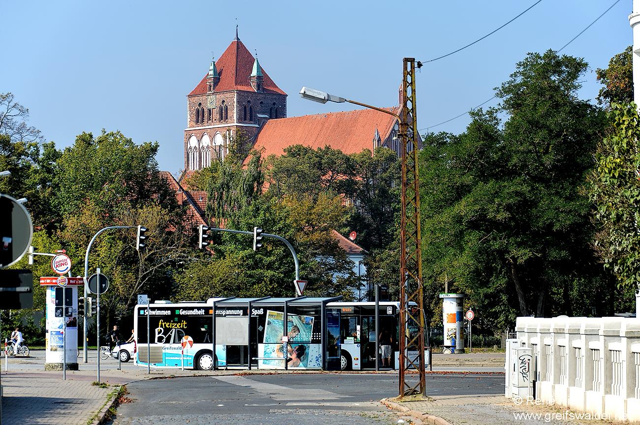 Europakreuzung und Marienkirche in Greifswald