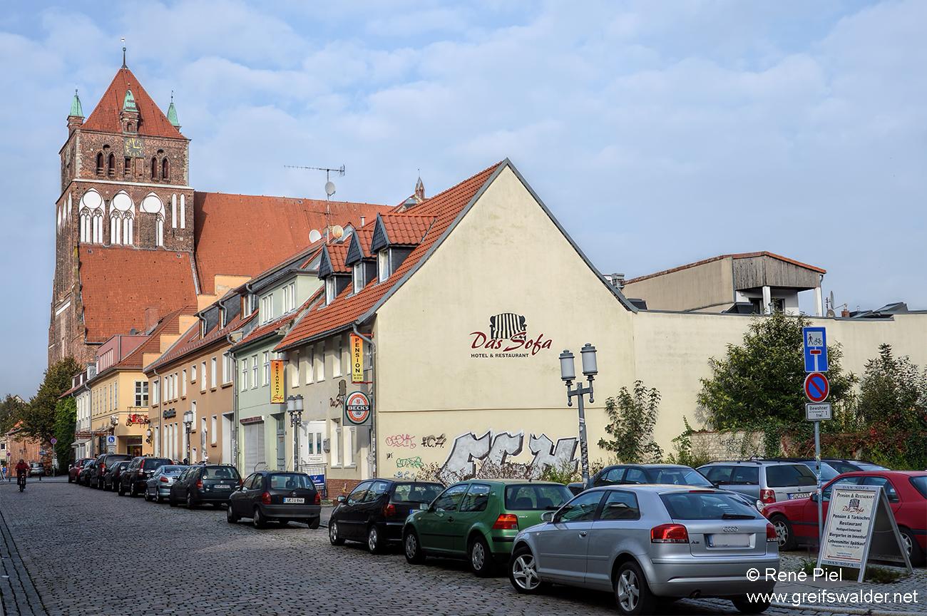Blick auf die Marienkirche in Greifswald