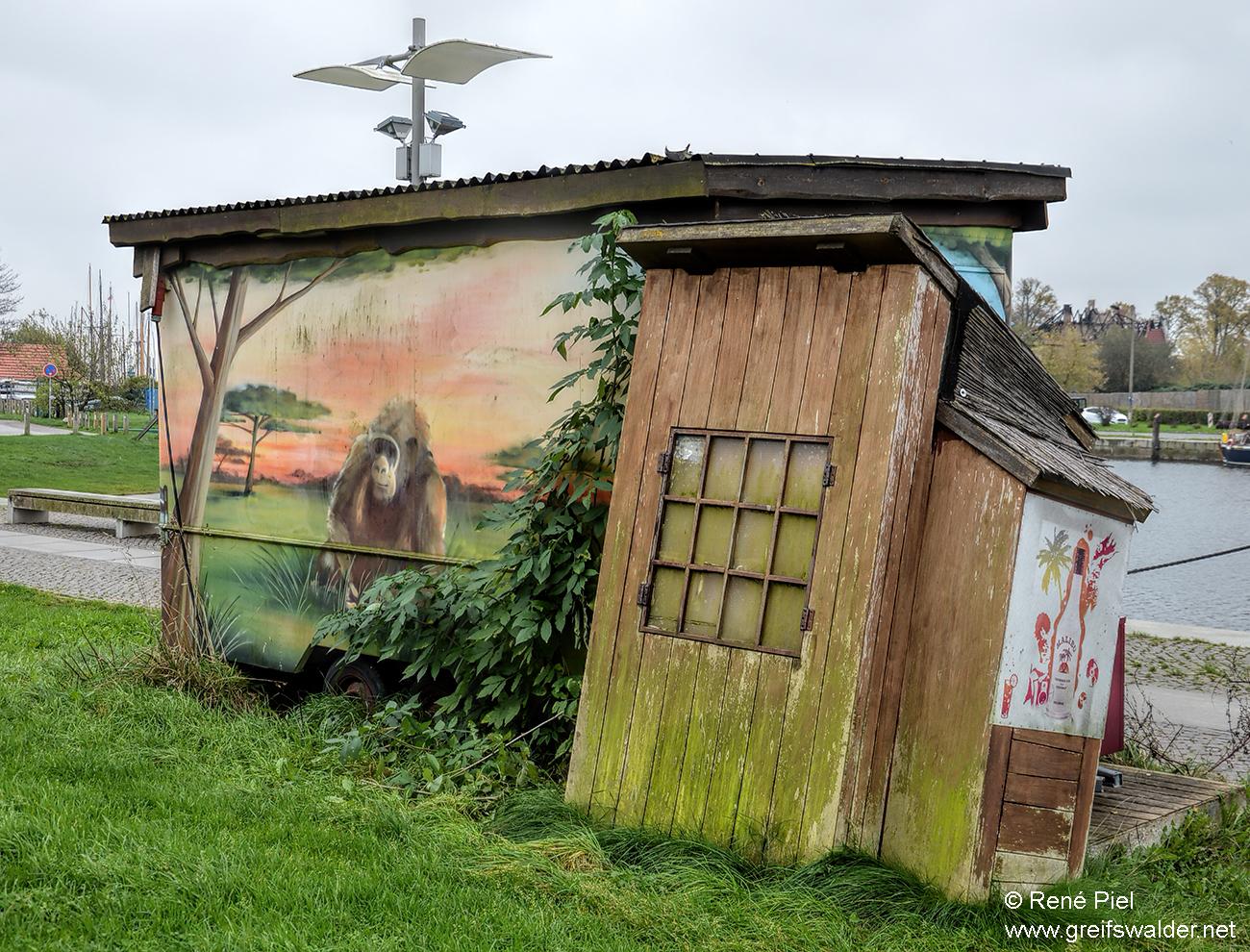 schiefe Hütte am Museumshafen in Greifswald