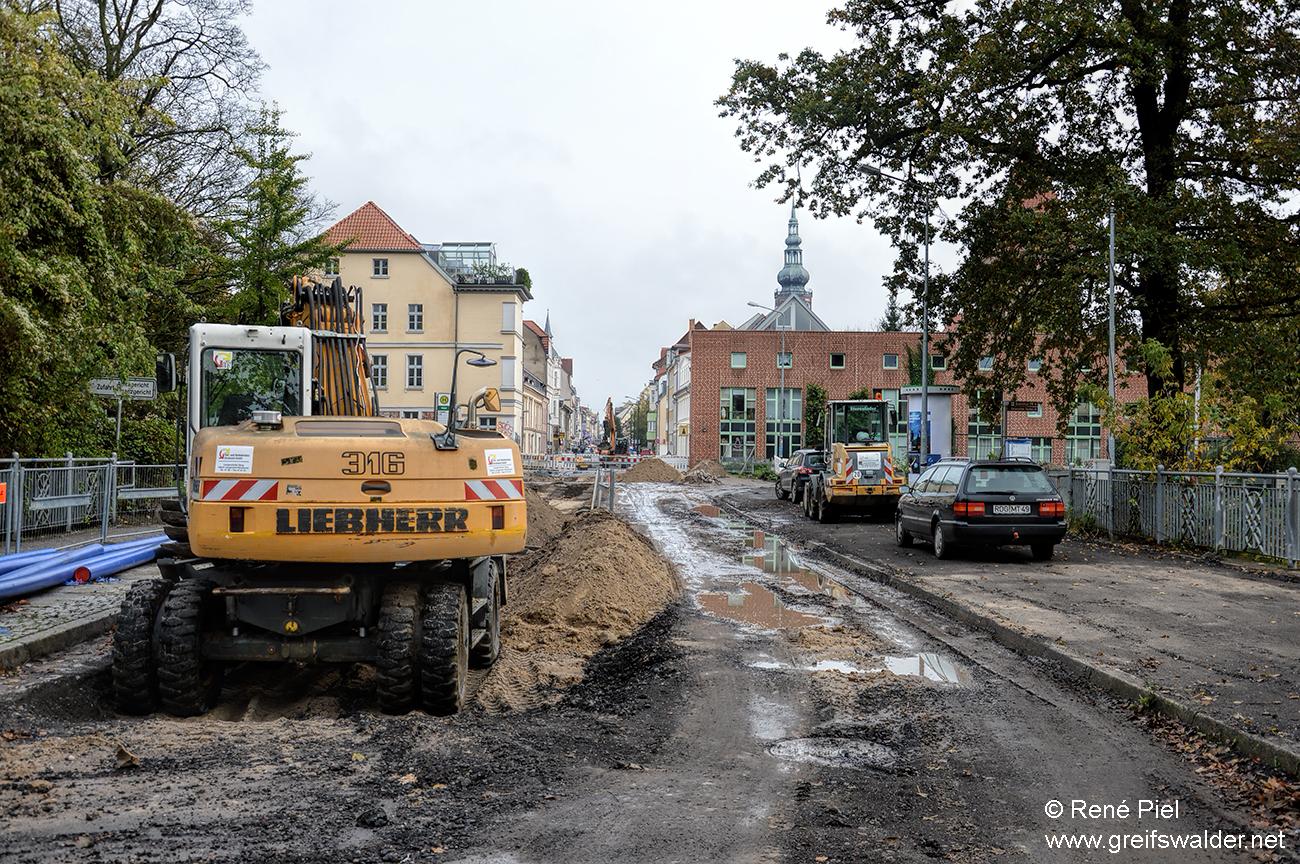 Bauarbeiten - Lange Straße in Greifswald