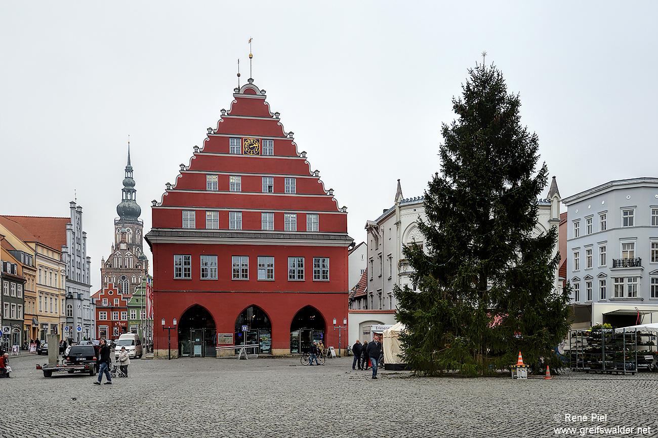 Greifswalder Marktplatz - Der Tannenbaum steht