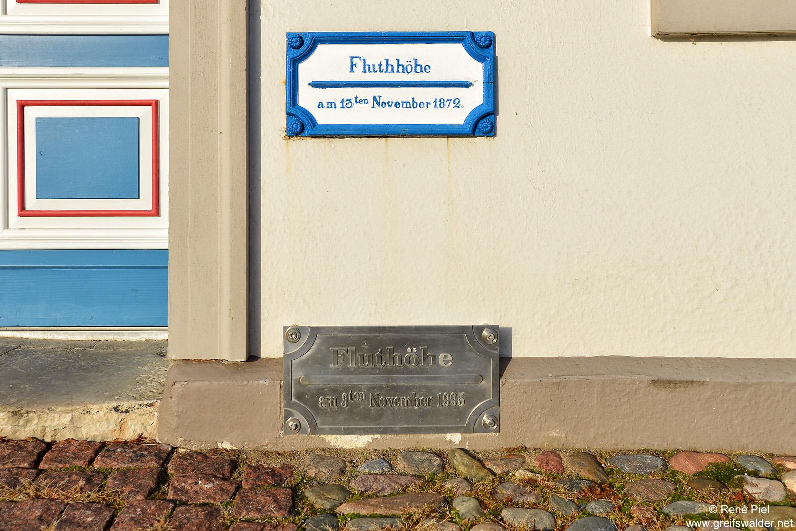 Fluthöhen in Greifswald-Wieck