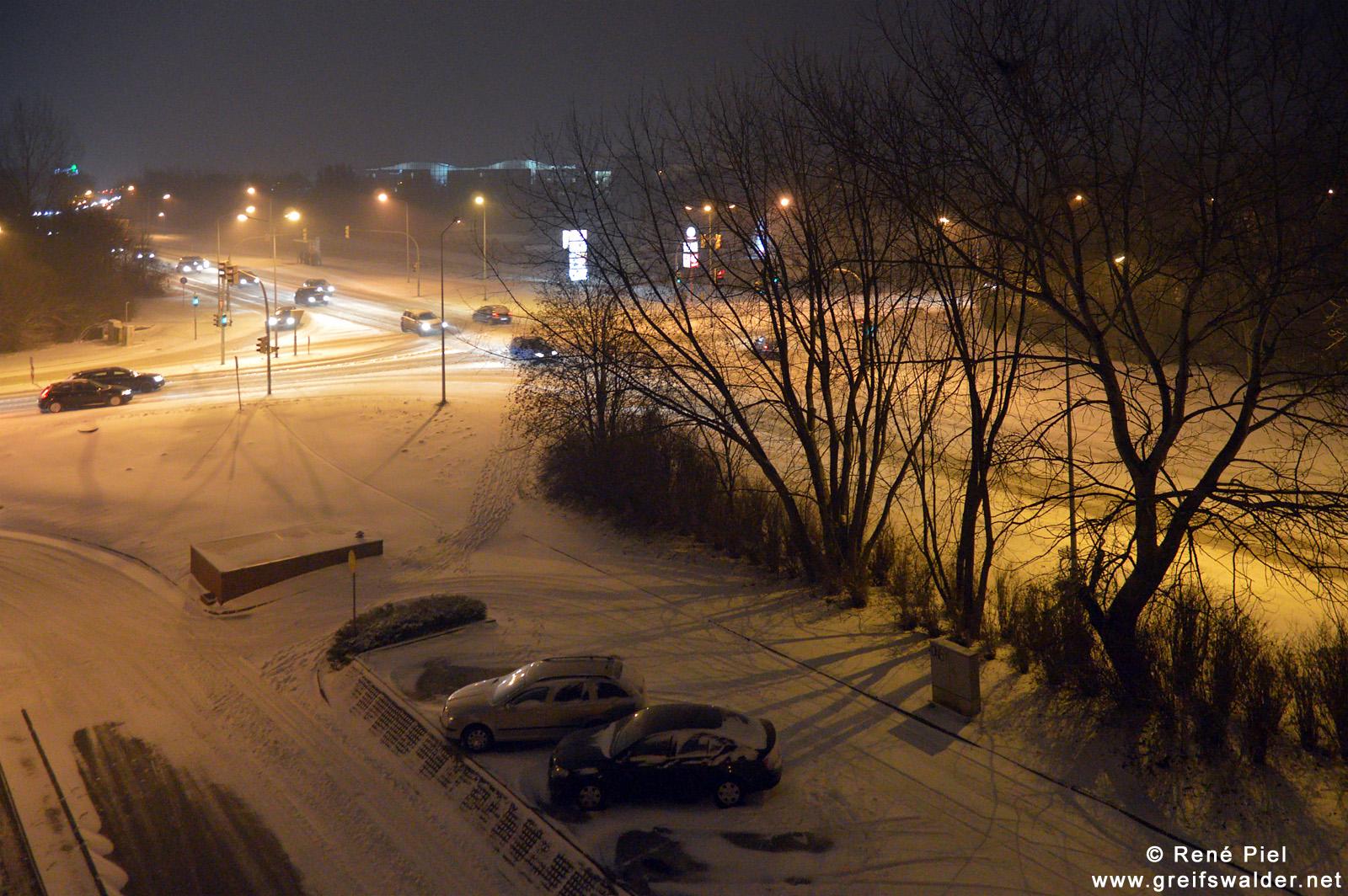 Schnee am frühen Morgen in Greifswald