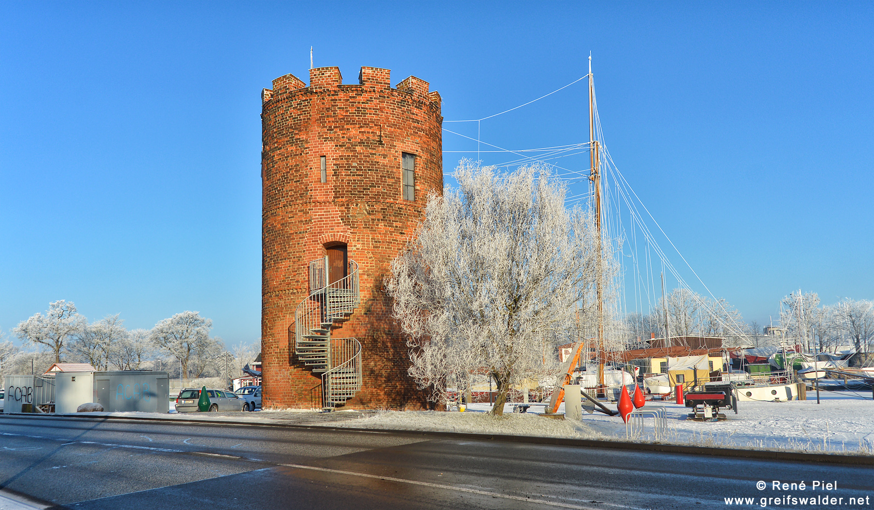 Fangenturm am Museumshafen in Greifswald