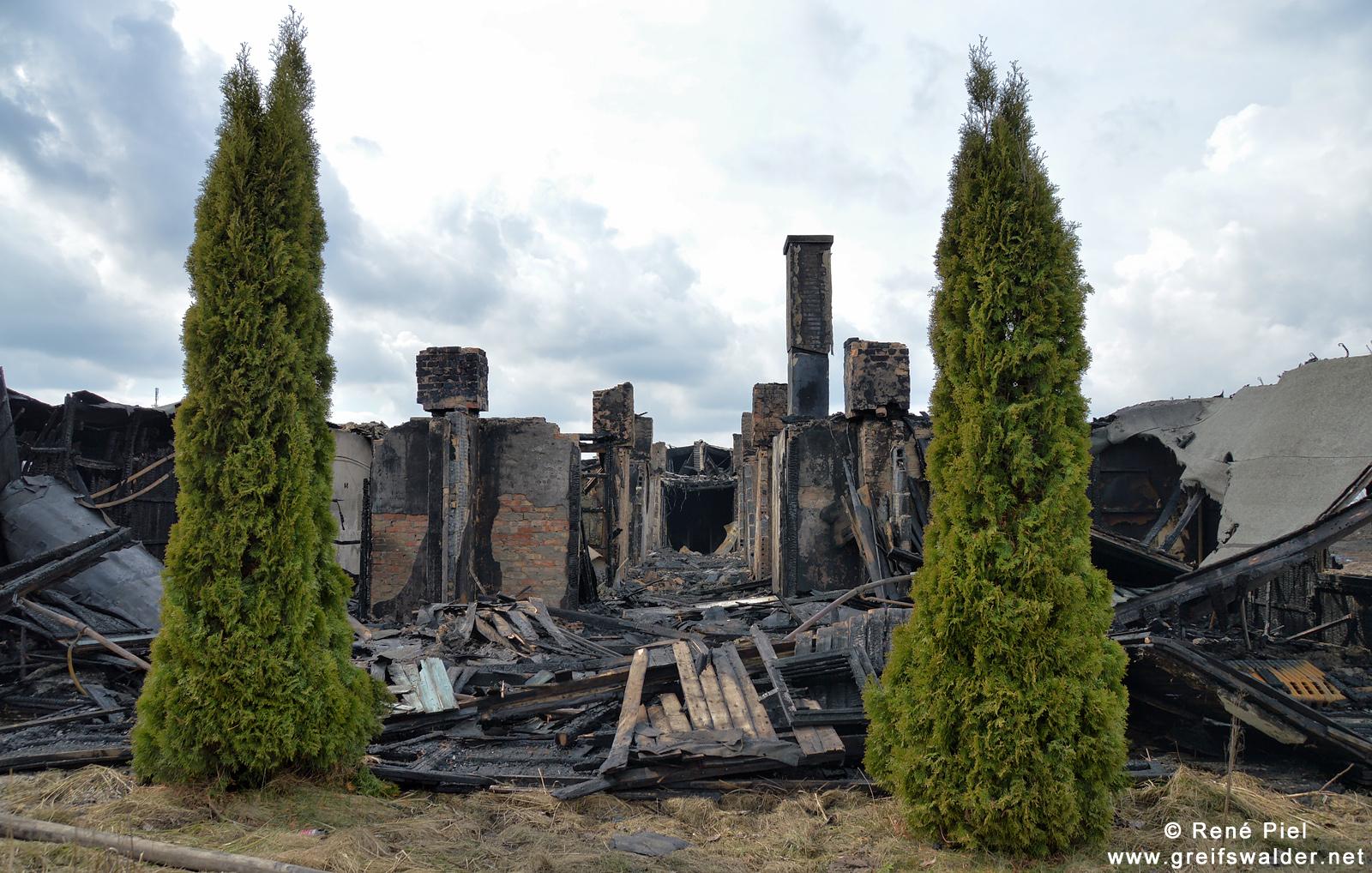 Nach dem Brand einer Baracke der ehemaligen Textilfabrik in Greifswald
