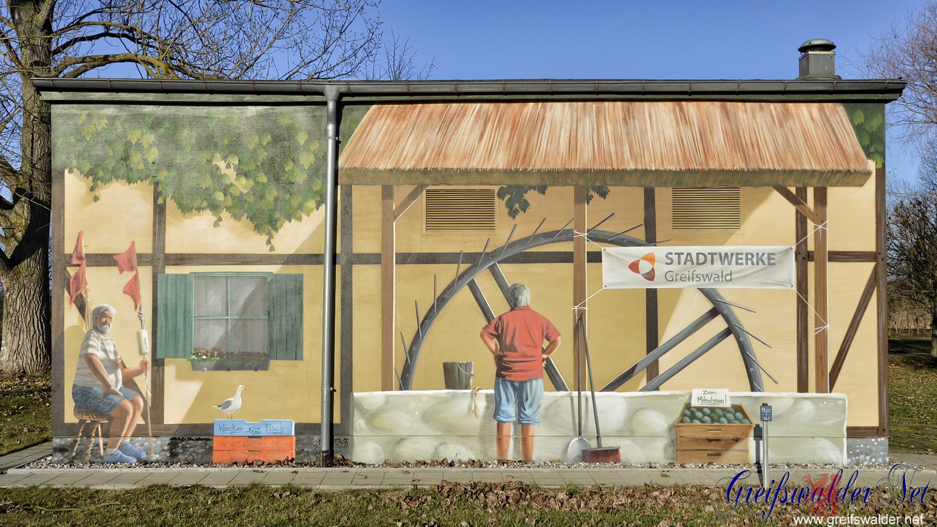 Graffiti an einem Pumpenhaus in Greifswald-Eldena