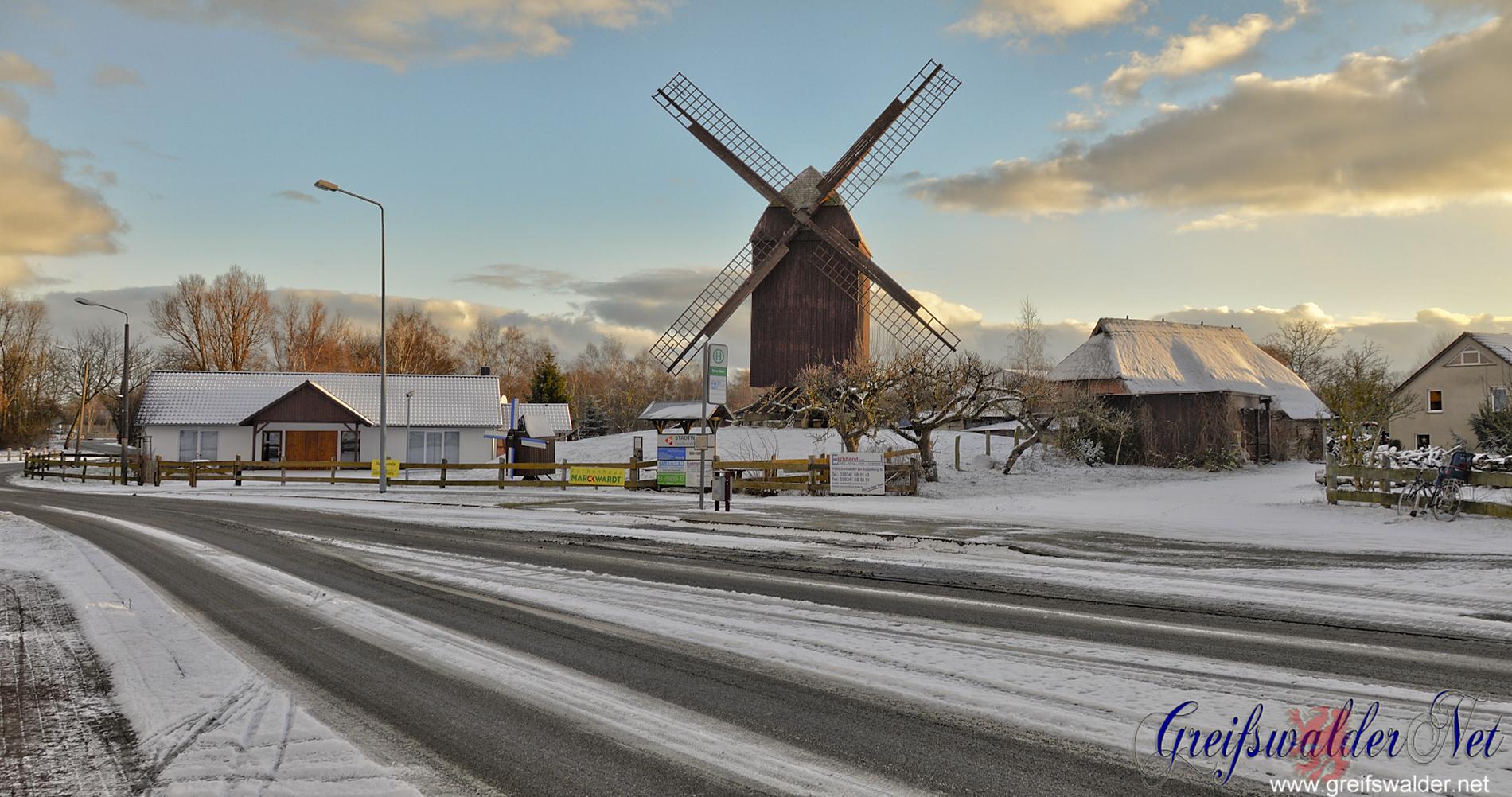 Winter an der Mühle in Greifswald-Eldena