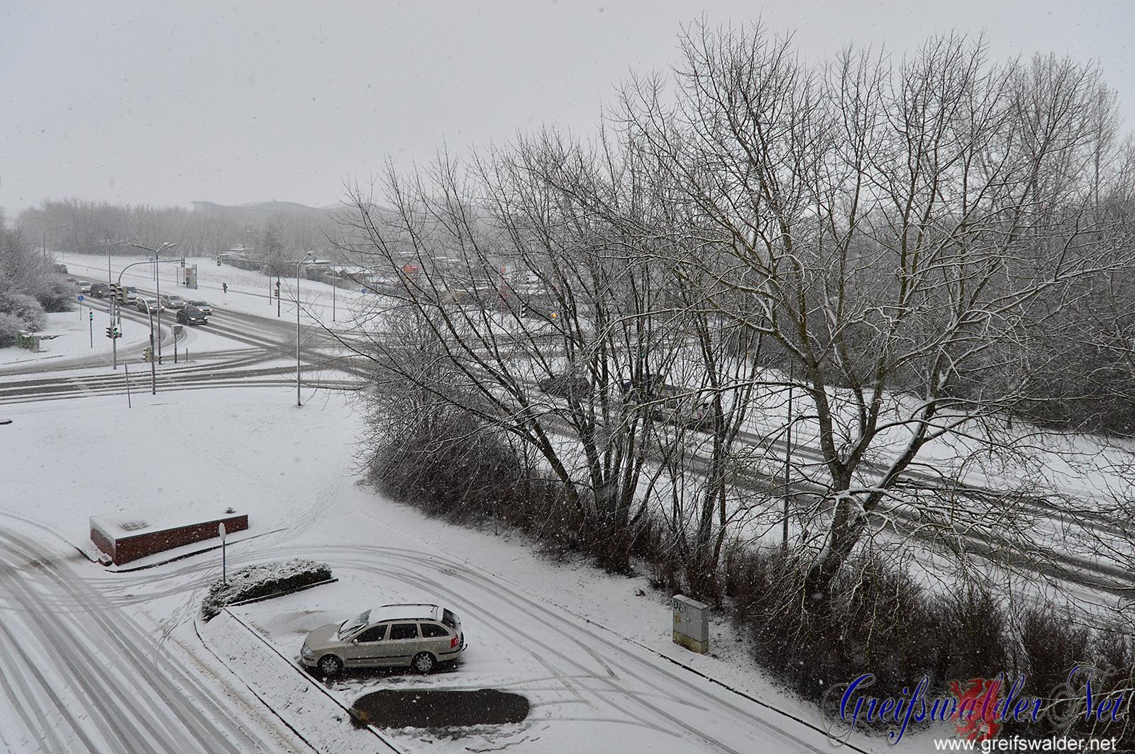 Schneefall in Greifswald