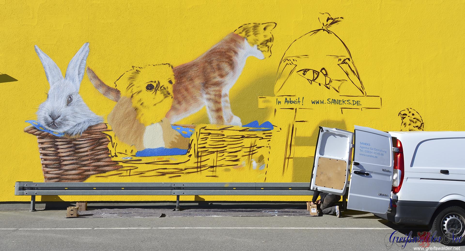 Graffiti entsteht in Greifswald