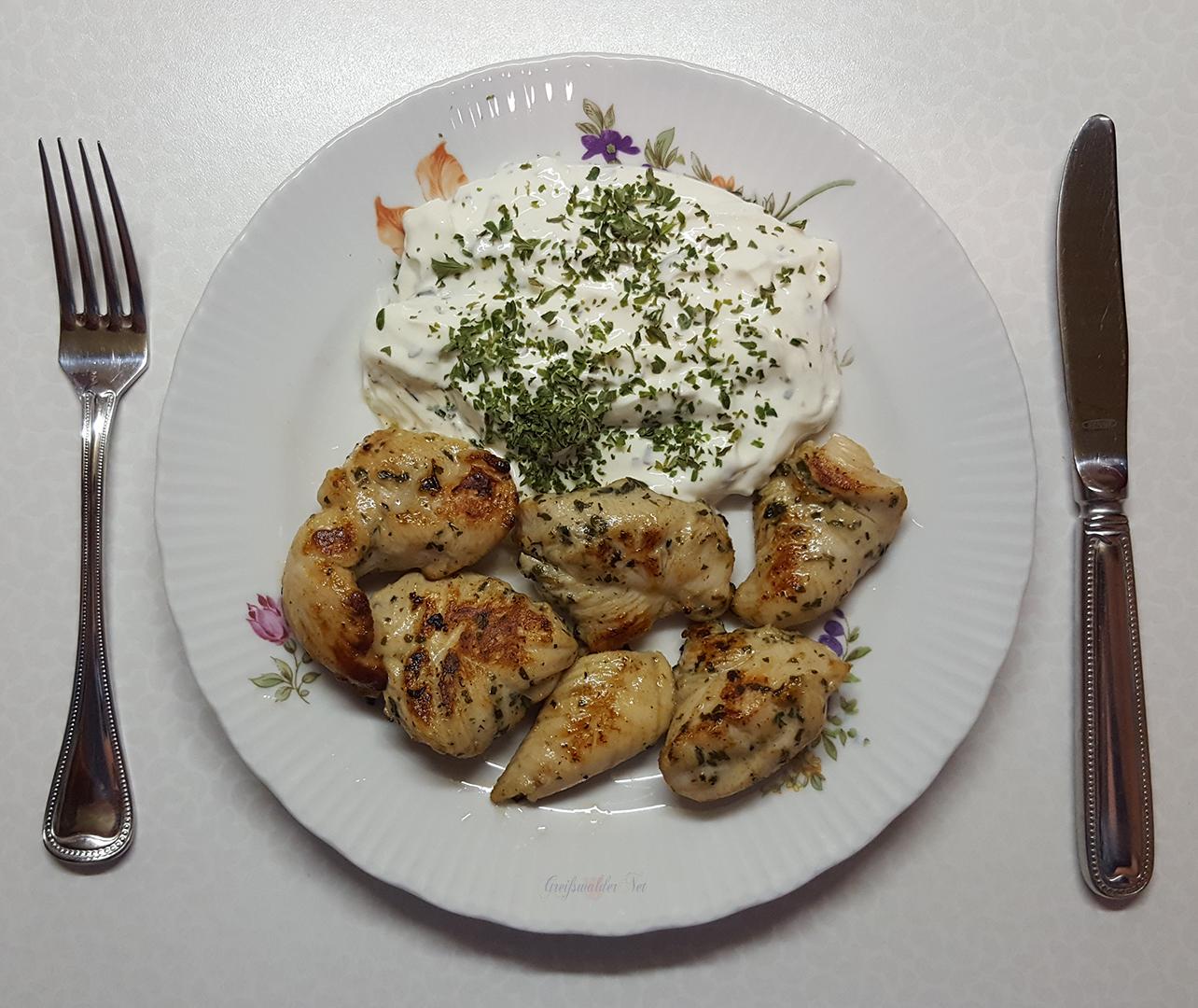 Hähnchenbrust-Filetstücke mit Kräuterquark