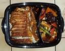 Ente mit Reis, verschiedenes Gemüse und Chop-Suey Sauce
