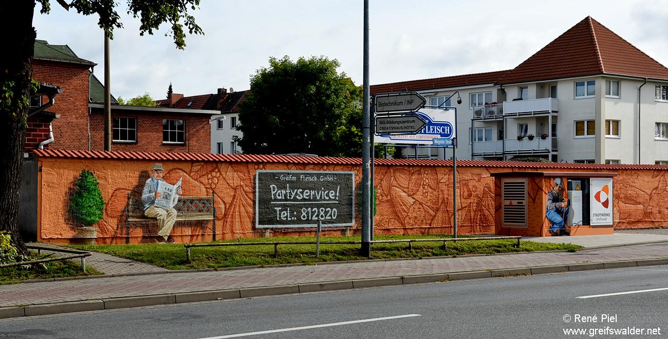 Graffiti bei der Greifen-Fleisch GmbH in Greifswald