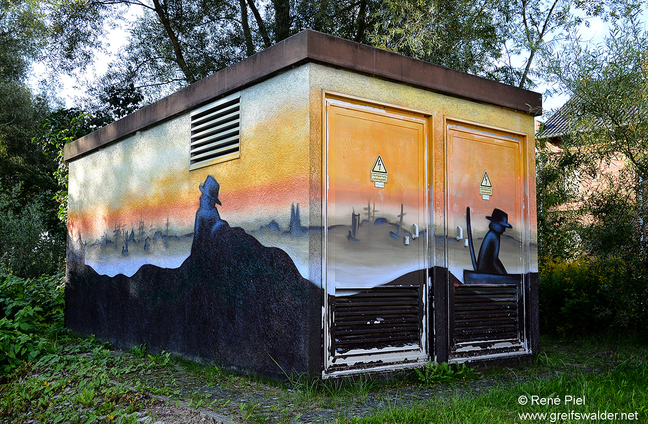 Graffiti an einer Trafostation in Greifswald-Eldena