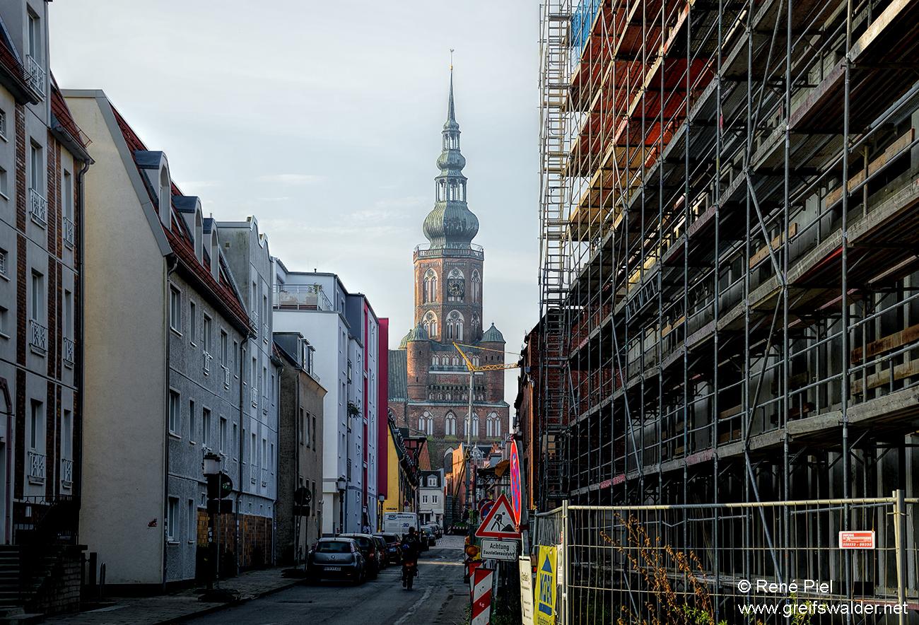 Bauarbeiten im Zentrum von Greifswald