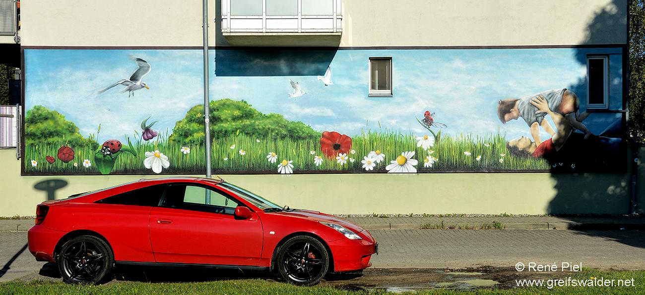 Graffiti an einem Haus in Greifswald
