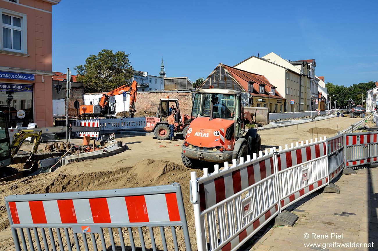 Bauarbeiten Gützkower Straße in Greifswald